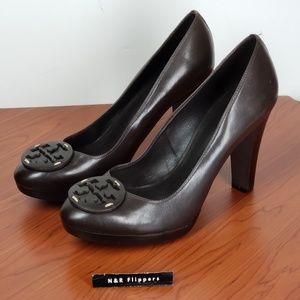 TORY BURCH Brown Leather Logo Heels